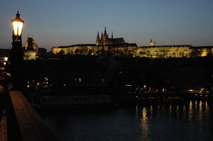 Prague Castle from Charles Bridge at dusk