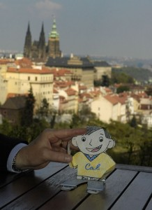 Flat Stanley eating lunch at Strahov Monastery (Prague)