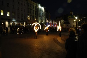Buskers at night (Krakow)