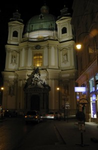 Church at night in Vienna