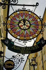 Getreidegasse sign (Salzburg)