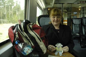 Linda and FS on train to Rothenburg